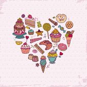 Colorful Background - with Cakes, Sweets and Desserts - hand drawn in vector