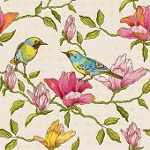 Vintage Seamless Background - Flowers and  Birds - for design and scrapbook in vector