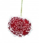 Beautiful cherry in water with bubbles, isolated on white