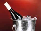 Bottle of wine in ice bucket on darck red background