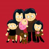 picture of baby face  - Illustration of an Asian family w - JPG
