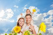 blue sky family in sunflower field