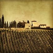 Grunge image of farmhouse in Tuscany, Italy.