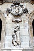 Paris. Sculptures And High Reliefs On The Facade Of Opera Garnier. Portrait Of Domenico Cimarosa