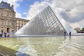 Pyramid And Fountain Near Louvre