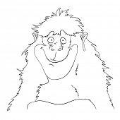 Smiling cartoon gorilla monkey, contour vector illustration.