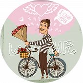 stock photo of sweethearts  - Starry eyed amorous Frenchman on a bicycle with a bouquet red roses serenading his sweetheart as he declares his love for her on Valentines  hand - JPG