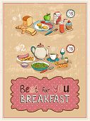 Best For You Breakfast vintage poster design