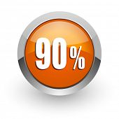 90 percent orange glossy web icon