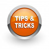 tips tricks orange glossy web icon