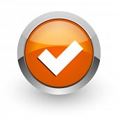 accept orange glossy web icon