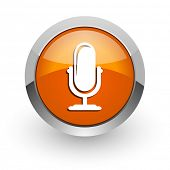 microphone orange glossy web icon