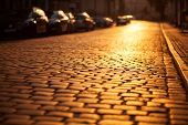 Paved road in an old european city