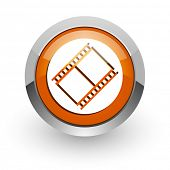 film orange glossy web icon
