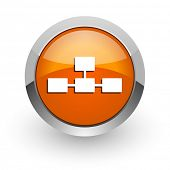 database orange glossy web icon