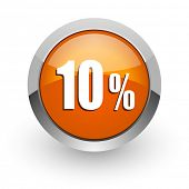 10 percent orange glossy web icon