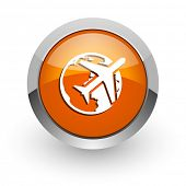 travel orange glossy web icon