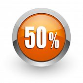 50 percent orange glossy web icon