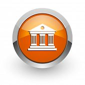 museum orange glossy web icon