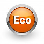 eco orange glossy web icon