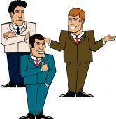 tres empresarios discutiendo un problema