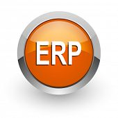 erp orange glossy web icon