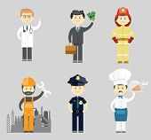 pic of firemen  - Professional men character icon vector set with a doctor  successful businessman  fireman  industrial construction worker or mechanic  policeman and chef in a toque - JPG