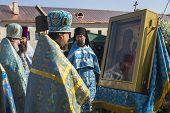 TIKHVIN, RUSSIA - JULY 9, 2014: Bishop Tikhvin and Lodeinopolskiy Mstislav celebrate Orthodox divine Liturgy on occasion celebrations of 10th anniversary of return of Tikhvin icon of Mother of God.