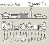 Kitchen Utensils On Shelves