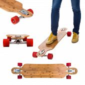 Skateboard longboard set isolated on a white background.