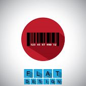 Flat Design Icon Of Barcode With Numbers - Vector Graphic.