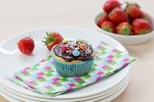 Muffins On Wood And Plates
