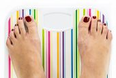Feet On Bathroom Scale With Blank Dial Copy-space Isolated