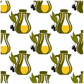 Seamless pattern of olive oil decanters