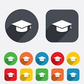 Graduation cap sign icon. Education symbol.