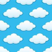Seamless pattern with fluffy clouds