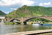 stock photo of moselle  - Bridge on Moselle river near Cochem town Germany - JPG