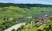 foto of moselle  - view of Town Zell and Moselle river in summer day - JPG