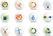 Energía eléctrica y los iconos de la energía