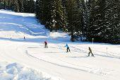 Skiing Tracks In Portes Du Soleil Area, France