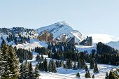 View Of Avoriaz Mountain Town In Alps