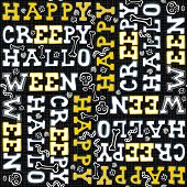 Happy creepy halloween white black yellow letters seamless pattern on dark