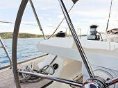 Steering Wheel Of Yacht In Adriatic Sea