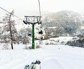Ski Lift In Skiing Area Via Lattea, Italy