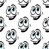 Seamless background pattern of cartoon happy faces