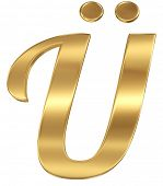 Golden shining metallic 3D symbol letter U umlaut - isolated on white