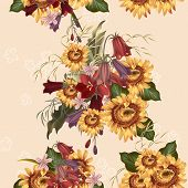 Floral Seamless Vector  Pattern With Flowers