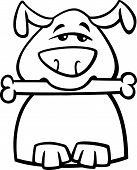 Busy Dog Cartoon Coloring Page