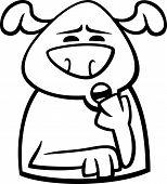Sleepy Dog Cartoon Coloring Page