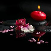 Spa Concept Of White And Red Orchid (cambria),  Red Candle And Pearl Beads On Zen Stones With Drops,